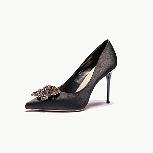 YIXINY Escarpin 18012 Chaussures Femme Tissu + PU + caoutchouc Strass talon mince Talons hauts Noir, rouge