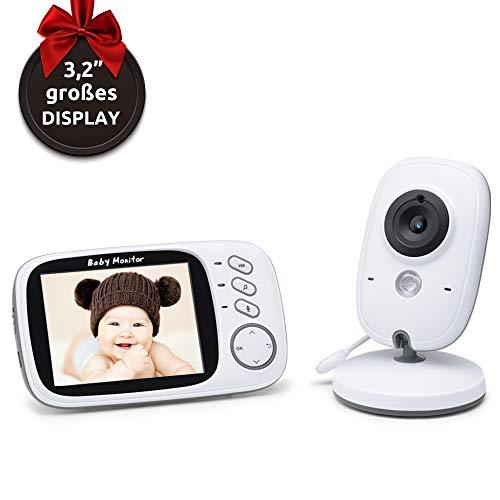 """Babyphone mit Kamera ohne Strahlung – Video Baby Monitor mit Nachtsicht Gegensprechenfunktion Längere Reichweite und Temperaturüberwachung, Überwachung mit 3.2"""" LCD"""