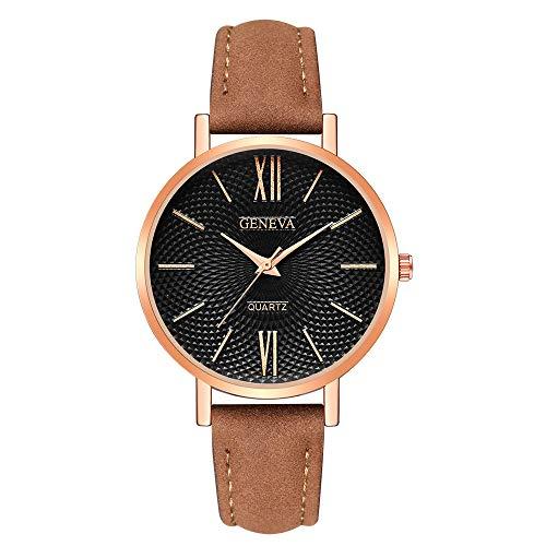 Neuer Trend  Armbanduhr Damenmode Einfache Uhr Ultradünn, Frauen Mode Retro Analog Quarz Uhr mit Lederband LEEDY