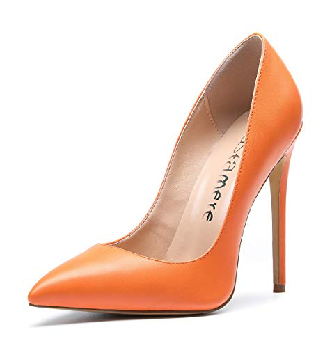CASTAMERE Damen Pumps High Heels Klassische Stilettos Spitzen Pfennigabsatz Pumps Slip On Elegant Hochzeit Party Schuhe 12CM Stiletto Heels PU Orange Pump EU 38.5 Orange Stiletto