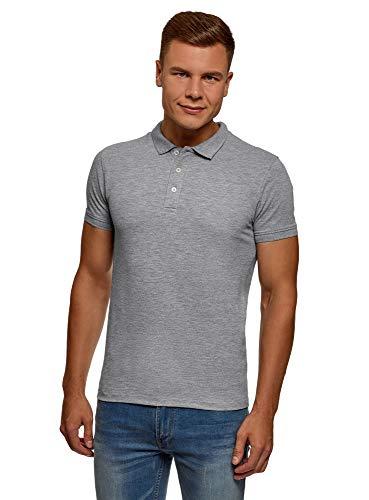 oodji Ultra Herren Pique-Poloshirt, Grau, DE 58-60 / XXL