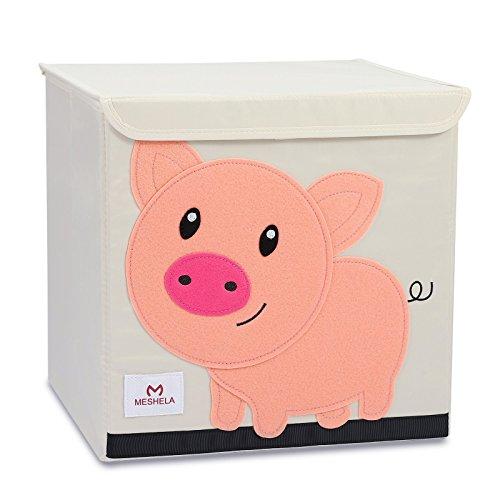 Meshela Boîte de Rangement Enfants Grande Coffret Capacité Pliable Dessin Animé sur Toile Cube Organiseur pour Vêtements/Chaussures/Jouets 33x33x33CM (Pig)