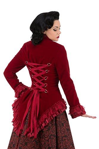 Hearts & Roses Damen Steampunk SAMT Jacke Mantel Korsett Frack - Rot (44) (Mittelalterliche Kostüm Für Pferde)