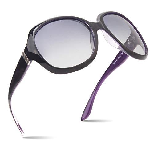 CGID Polarisierte Sonnenbrille für Damen Sonnenbrillen für Frauen Oversized Polaroid-Gläser UV400 Schutz Getönte Brille 100% UV 400 Brille Klassische Metall Ornamente Schwarz Lila PC Rahmen