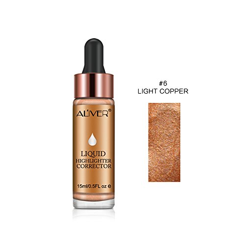 LeSB Shimmer Face Contour Makeup Specular Liquid Highlighter Ultra-concentrated Bronze Concealer Cream High Beam (#06 Light Copper)