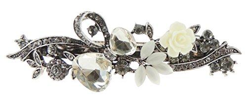 Haarspange für Damen, Bogen und Rose, aus Metall, Vintage-Look, Silber, mit blauem Kristall