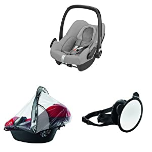 Maxi-Cosi Rock i-Size Baby Car Seat, Nomad Grey with Raincover for Baby Car Seat, Transparent and Back Seat Car Mirror   12