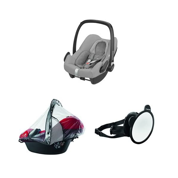 Maxi-Cosi Rock i-Size Baby Car Seat, Nomad Grey with Raincover for Baby Car Seat, Transparent and Back Seat Car Mirror Maxi-Cosi High safety rating: complies with the latest i-Size (R129) car seat legislation Baby-hug inlay offers a better fit and laying position for new-born's Designed to fit onto the maxi-cosi pebble plus, pebble and cabriofix baby car seats 1