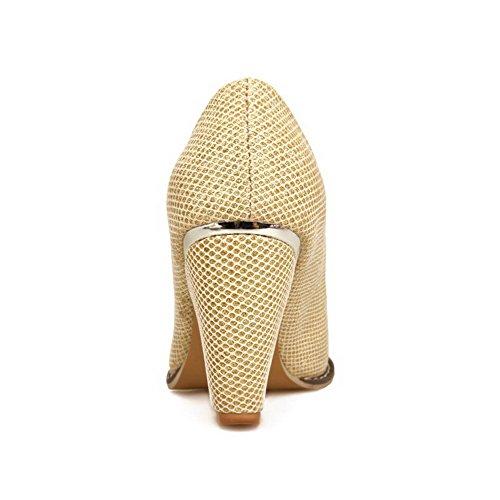 AllhqFashion Femme Matière Souple Tire Pointu à Talon Haut Couleur Unie Chaussures Légeres Doré