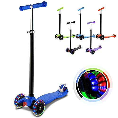 Hikole Kinderscooter Dreirad mit verstellbarem und Abnehmbarer Lenker Tret-Roller LED Räder Blinken für Kinder ab 3 Jahren (Dunkel Blau)