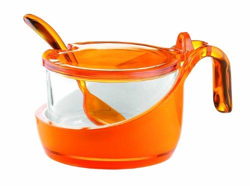 Guzzini 24890045 Coupelle à Fromage/Confiturier/Sucrier avec Petite Cuillère Bicolore Orange Transparent 8 x 14 x 10,5 cm