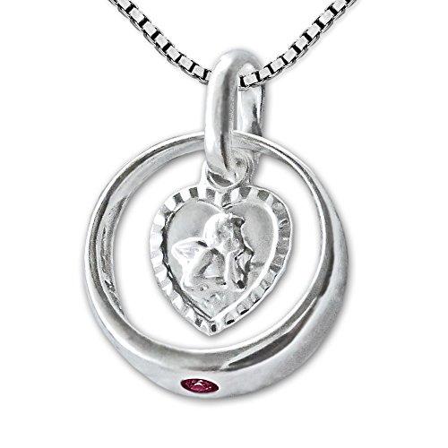 CLEVER SCHMUCK-SET Silberner Taufring mit Rubin und Engel herzförmig mit Kette Venezia 36 cm STERLING SILBER 925 zur Mädchentaufe