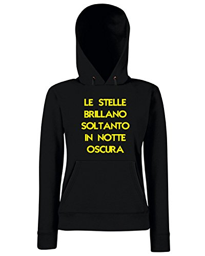 T-Shirtshock - Sweats a capuche Femme T0949 le stelle brillano soltanto in notte oscura fun cool geek Noir