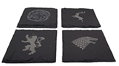 Game of Thrones Inspired Engraved House Sigils - Slate Coasters - Pack of 4