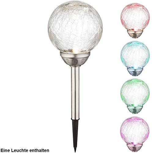 Glas Kugel Leuchte (RGB LED Solar Leuchte Steck Lampe Beleuchtung Glas Kugel Außen Strahler Farbwechsel Globo 33353)