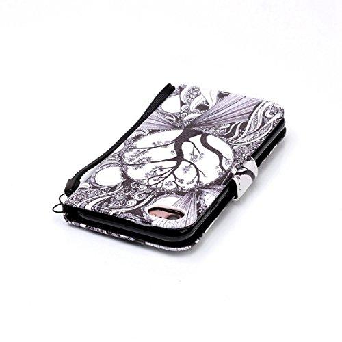 iPhone 7 Hülle,iPhone 7 Case,iPhone 7 Cover - Felfy PU Ledertasche Strap Flip Standfunktion Magnetverschluss Luxe Bookstyle Ledertasche Nette Retro Mode Painted Muster Abdeckung Schutzhülle Ablösbar H Schwarz-weiß-Baum case