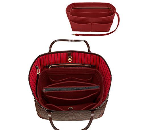 LEXSION Filztasche Organizer mit Reißverschluss Tasche Tote Shaper Fit Speedy Neverfull, Rot (Vine Red), Large