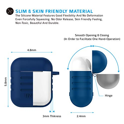 Tizum Apple AirPod Silicone-Shockproof Case Cover with Carabiner Hook (Blue) Image 5