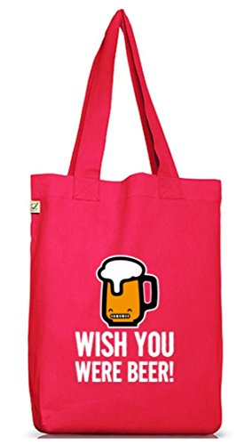 Shirtstreet24, Wish You Were Beer! Jutebeutel Stoff Tasche Earth Positive (ONE SIZE) Hot Pink