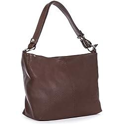 LiaTalia - Largo bolso hobo para mujer de piel italiana suave con correa de hombro ajustable y bolsa protectora - EMMY (Marrón obscuro)