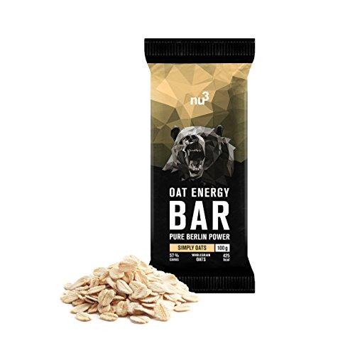 nu3 Oat Energy Bar | 15x 100g Hafer Bar | Köstlicher Flap-Jack-Energie-Riegel mit 60% Kohlenhydraten für Ausdauer- und Kraftsport | Müsli Bar für Unterwegs | Veganer Oatsnack mit leichter Süße