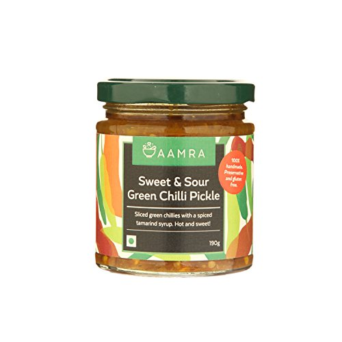 Aamra Homemade Sweet & Sour Green Chilli Pickle 190gm