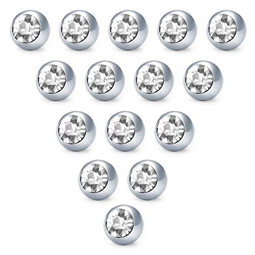 Funseedrr Silber Piercing Kugeln Set 1,6mm Gewinde Chirurgenstahl 5mm Ersatzkugel Schraubkugel