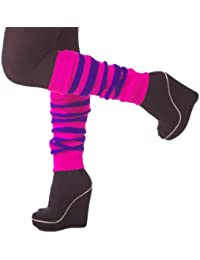 1 Pair Adult Neon Leg Warmers Plain or striped