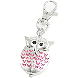 Gleader Silver Tone Pink Metal Owl Pendant Knob Adjustable Time Keyring Watch
