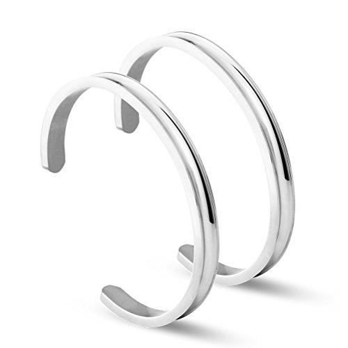 NewChiChi Haargummi Armband Armreif für Haar Edelstahl Rippen Manschette Armreif Hochglanzpoliert Armband schmuck