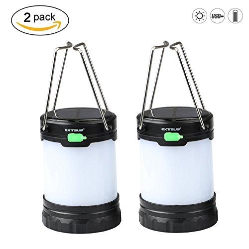 EXTSUD 2er Solar Camping Laterne tragbare LED aufladbar Campinglampe Outdoor Gartenlaterne Notleuchten IPX4 Wasserdicht USB Lampe eingebaute 1000mAH Batterie 3 Licht Modi für Nachtfischen,Jagen(2018 Neue Design)