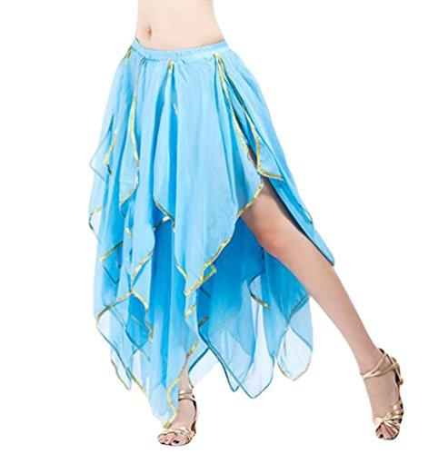 YuanDian Frauen Chiffon Bauchtanz Swing Long Öffnungs Doppelschichten Rock Professionelle Moderne Tanz Performance Kleid See (Kostüm Tanz Swing)