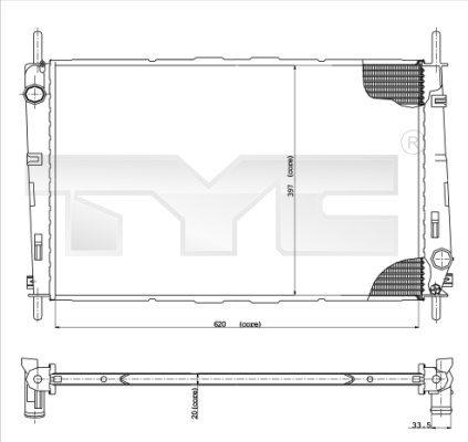 Ventilateur Mondeo III (aussi Break TROIS-CORPS) 11/00-08/07 moteur Refroidisseur