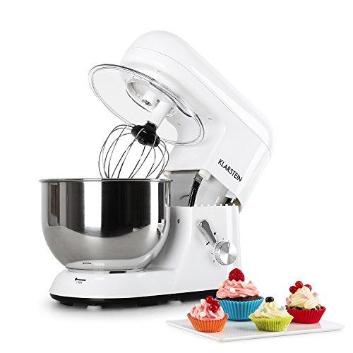 Bianca Küchenmaschine leistungsstarke Rühr- und Knetmaschine, 1200 W, 5 L, Edelstahl Rührschüssel, inklusive Aufsatz-Set, weiß ()