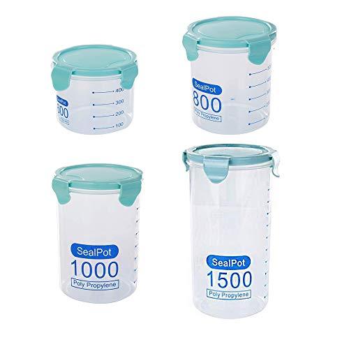 4-teiliges Polypropylen-Luftdichtes Kanister-Set, Dichtungsgefäß mit Verschlussklammer-Deckel, Küchen-Vorratsdose, Kaffeedose, Zucker, Nüsse, Mehl und Teedose, blau (Küche Kanister Chef)