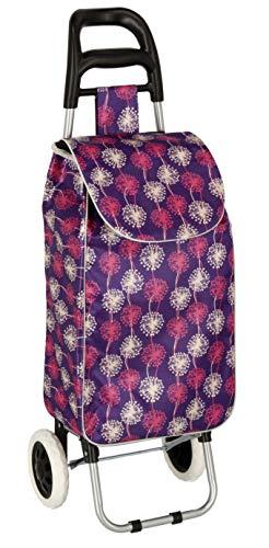 Einkauftasche auf Rollen, Klappwagen 96 cm Verschiedene Farben und Muster (Lila mit Blumen)