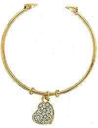 The Olivia Collection Goldtone Bangle with Rhinestone Set Heart Charm