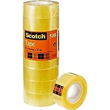 Scotch 508 Nastro Adesivo, Trasparente Acrilico, 15 mm x 33 m, Confezione Torretta da 10 Pezzi