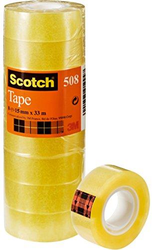 Scotch 508 Nastro Adesivo, 15x33 m, Trasparente, Confezione da 10 Pezzi