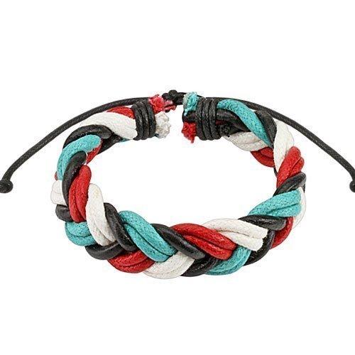 Color pulsera cuero trenzado doble Quad cuerdas ajustables