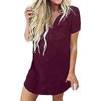 Tosonse Camiseta para Mujer Work Tops Blusa Tanques Camisas De Manga Corta tee Cuello Redondo Color Sólido Túnica Transpirable