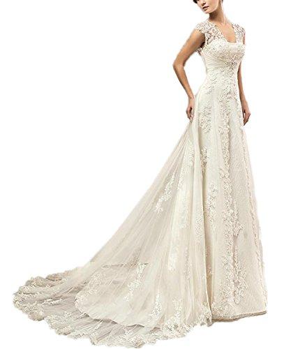 CoCogirls Spitze Hochzeitskleid Kappenhülsen Perlen Korsett Schlüsselloch Rückenfrei Hochzeitskleider Gericht Zug Übergröße Brautkleider (44, Weiß)