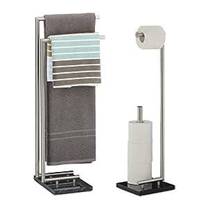 2 tlg badezimmer set pierre handtuchhalter ohne bohren toilettenpapierhalter freistehend. Black Bedroom Furniture Sets. Home Design Ideas