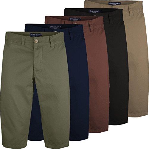 Mens Long 3/4 Chino Shorts Casual Summer Bottoms Cotton Below Knee Length Pants