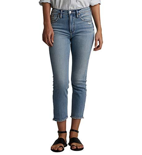 Silver Jeans Co. Damen Frisco Vintage High Rise Straight Leg Crop Jeans, Medium Indigo, 34W x 25L (Miss Me Bootcut Jeans)