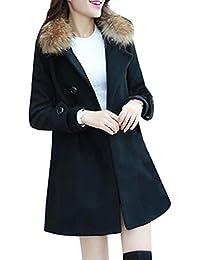 Gabardina Larga Casual para Mujer abrigos chaquetas con cuello de piel sintético parka