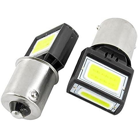 2 PC 1156 Blanca 15 COB Coche Cola de frenado proyector de luz de la lente del bulbo 8W