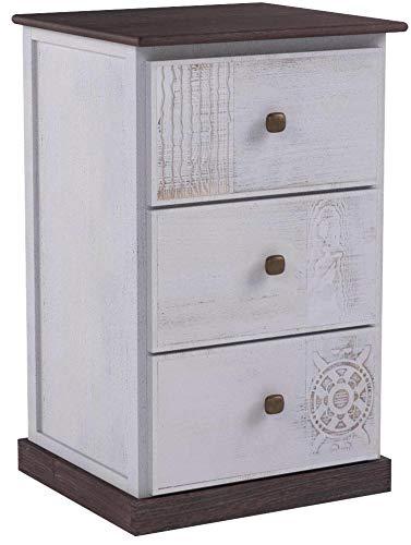 CARO-Möbel Nachttisch Juna Nachtschrank Nachtkonsole für Boxspringbett mit 3 Schubladen, grau/weiß Shabby Chic Vintage