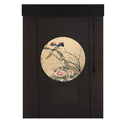ACZZ Persianas enrollables grandes y ligeras para restaurante de casa al aire libre, 55Cm / 75Cm / 95Cm / 115Cm / 135Cm de ancho de bambú estilo japonés, sombrillas, negro,115 × 230 cm