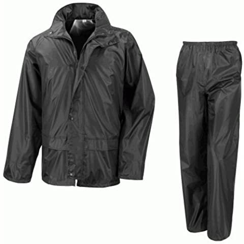 Chaqueta impermeable para motocicleta más de pantalones traje de 2piezas–negro